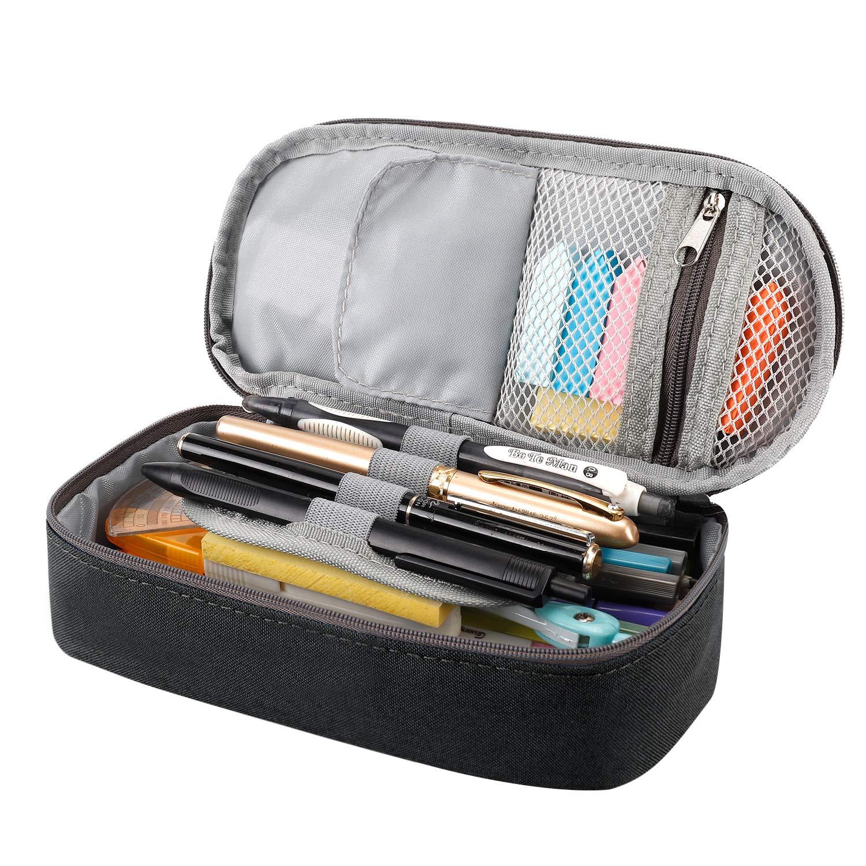 Estuche para lápices y bolígrafos de RAGZAN de gran capacidad, organizador de papelería para niños y niñas, color negro: Amazon.es: Oficina y papelería
