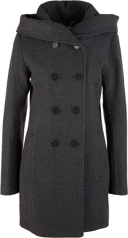 s.Oliver Damen Melierter Mantel aus Wollmix 9898
