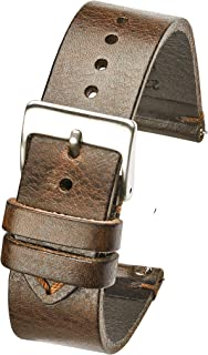Alpine Hand Made Genuine Vintage Leather Watch Strap with Quick Release Steel Spring Bars - Black, Brown and Tan in Sizes 18mm, 20mm, 22mm, 24mm (fits Wrist Size 6 1/4 inch to 8 inch)