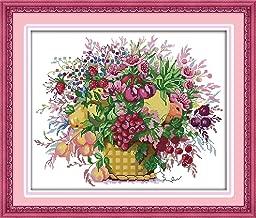Joy Sunday Cherry Fruit Basket Counted Cross Stitch Kits,Embroidery Kit DMC Threads Cross-Stitch Patterns Supplies 14 Count 18''x15''