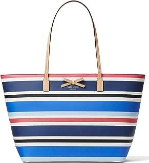 Kate Spade New York Eden Street Margareta Pebbled Grainy Vinyl Bag, Waltz Stripe Blue