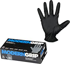 Modern Grip 18195-M Nitrile 8 mil Thickness Premium Disposable Heavy Duty Gloves – Industrial and Household, Powder Free, Latex Free, Diamond Textured for Superior Grip - Black - Medium (50 count)