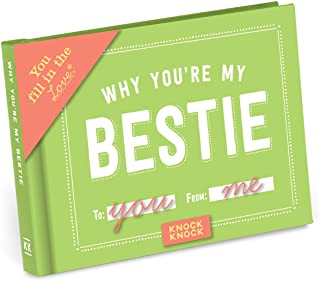 Knock Knock Why You're My Bestie Fill in the Love Book Fill-in-the-Blank Gift Journal, 4.5 x 3.25-Inches