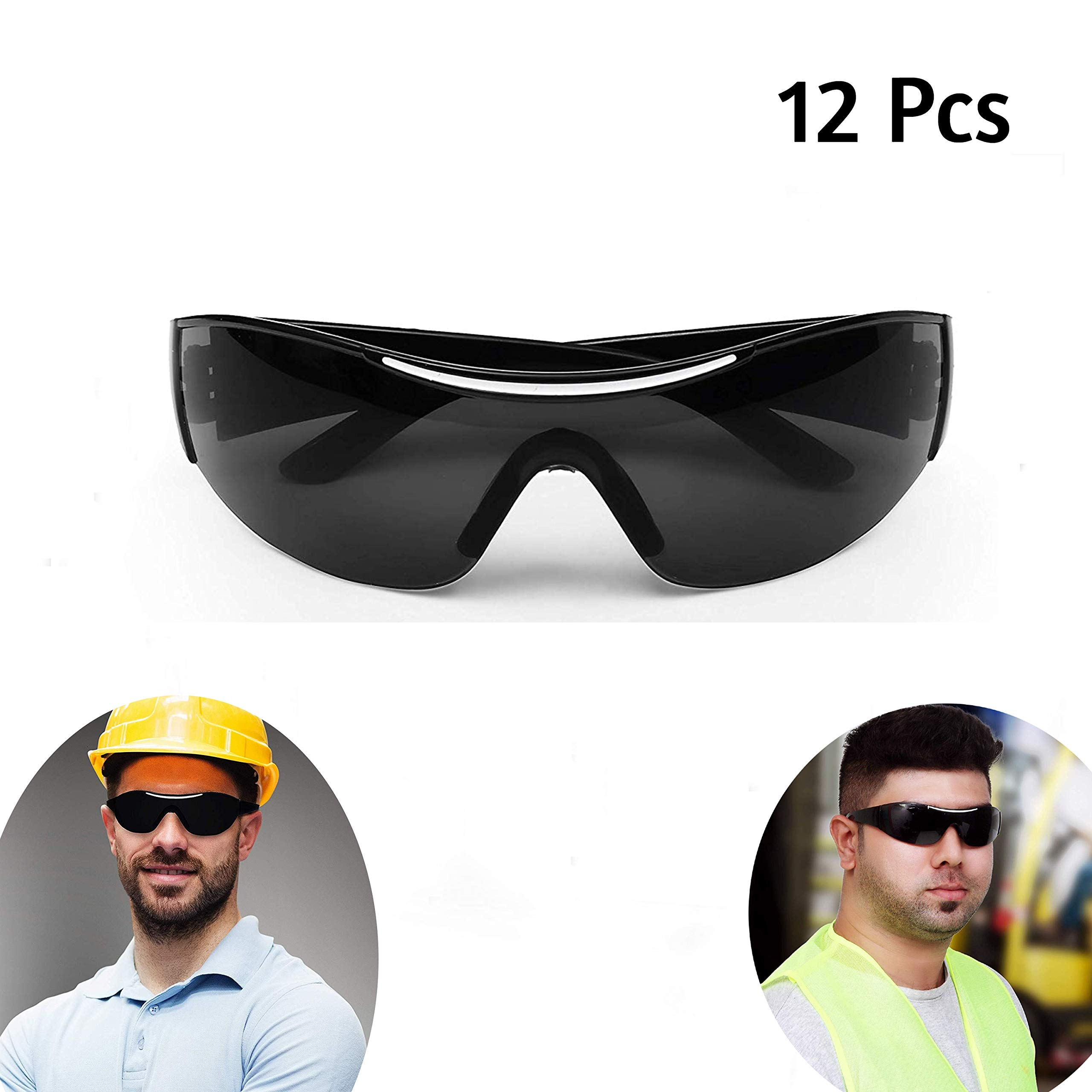 Safety Glasses - (12Pcs) Black Safety Glasses, Protective Glasses, Safety Goggles Eyewear Eyeglasses - Personal Protective Equipment (PPE) with Black Lenses Featuring Non Slip Grip for Comfortable Fit