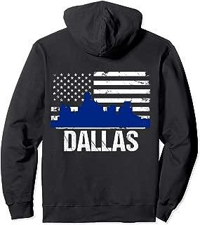 Dallas Skyline Distressed American Flag BACK PRINT Hoodie