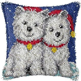 Lanrui Kits de Crochet de loquet DIY Jetez la Couverture d'oreiller Mignon Dog Modèle de Chien imprimé Crochet Crochet Tra...