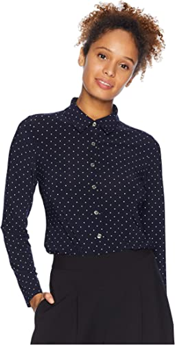 Polka Dot Collared Long Sleeve Knit Top