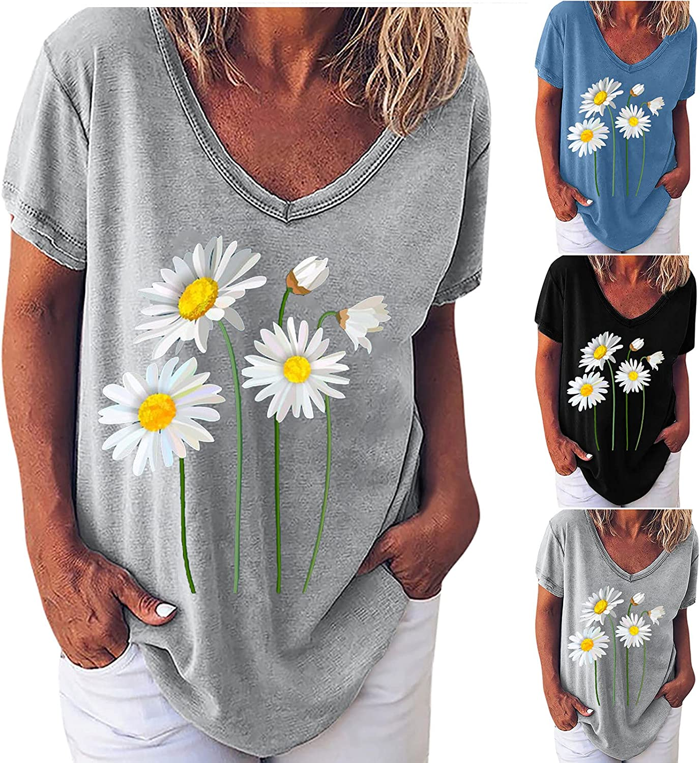 Women's Short Sleeve Tunic Tops Basic V-Neck Loose T Shirts Solid Color Pullover Printing Casual Tops