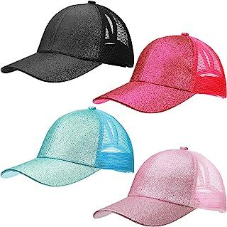 Kids Ponytail Baseball Caps Adjustable Glitter Ponytail Hats Shiny Messy High Bun Baseball Cap for Girls