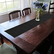 CAIT CHAPMAN HOME COLLECTION Texture Design Woven PVC Rectangular Heat Insulation Texteline Table Runner (All Black)
