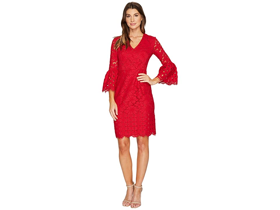 Maggy London Lace Sheath Dress with Novelty Sleeves (Cranberry) Women