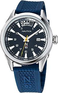 ساعة نوتيكا كوارتز بسوار سليكون للرجال، ازرق، 20 كاجوال (NAHBS121)