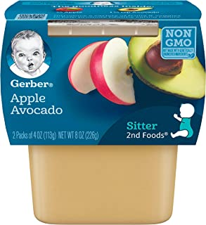 Gerber Purees 2nd Foods Apple Avocado Baby Food Tubs (Pack of 8)