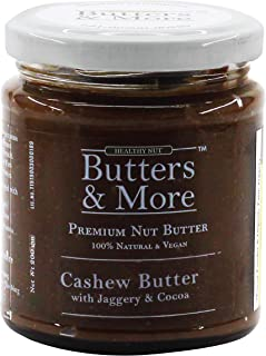 Butters & More Vegan Cashew Butter with Dark Cocoa & Organic Palm Jaggery (200G). No Refined Sugar. Healthy Chocolate Spread.
