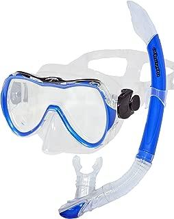 AQUAZON RIMINI Equipo de esnórquel de alta calidad, equipo de buceo, gafas de esnórquel con cristal templado, esnórquel con parte superior semi seca para niños de 7 a 14 años.