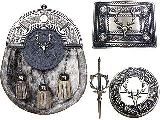 Scottish Kilt Sporrans with Brooch/Buckle Stag Head Style/Kilt Pin 4 Pcs Set