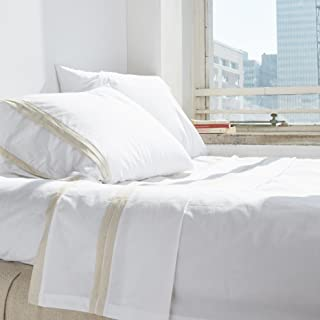 Amity Home Bianca Banded Sheet Set, Queen, White/Cream