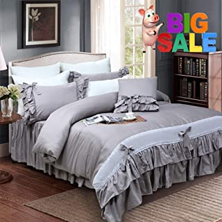 Softta Gray Luxury Princess Bedding Sets Girls Grey Duvet Cover Queen 3 pcs Lace Ruffle Hotel Quality 100% Egyptian Cotton 800TC