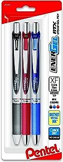 Pentel EnerGel RTX Retractable Liquid Gel Pen, (0.3mm) Needle Tip, Extra Fine Line,  Assorted Ink, 3-Pk (BLN73BP3M)