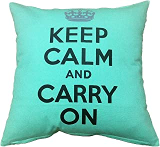 """Artiwa Retro Classic Keep Calm And Carry On 18""""x18"""" Cotton Canvas Couch Bed Throw Decorative Pillow Case, Gift Idea 18 x 18 Green PC90A01_S"""