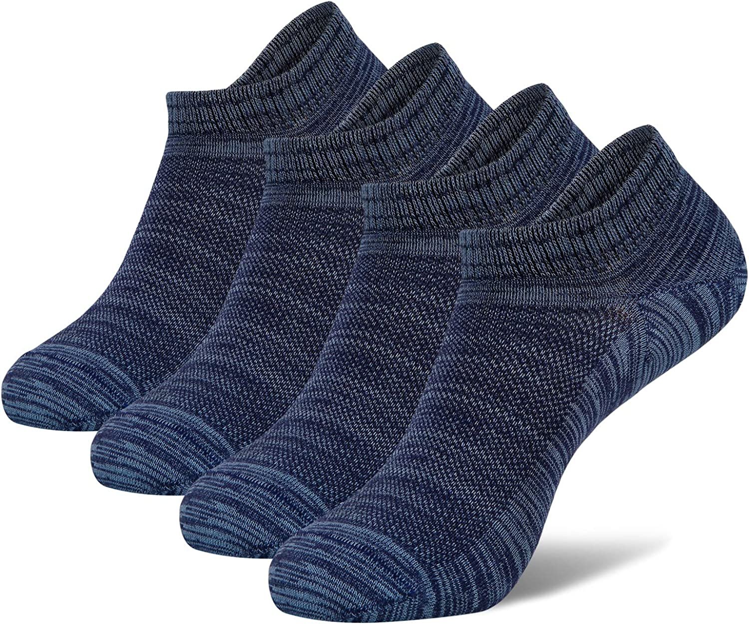 +MD Mens Bamboo No Show Low Cut Breathable Casual Socks with Seamless Toe & Flat Knit 4/6 Pack