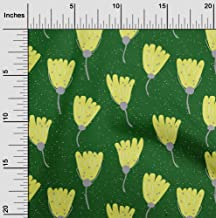 oneOone Cotton Cambric Green Fabric Artistic Floral Fabric for Sewing Printed Craft Fabric by The Yard 42 Inch Wide