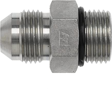 Brennan Industries 4601-06-04-NWO-FG Forged Steel 90 Degree Elbow Adapter 0.562 Flats Nut Washer O-Ring 3/8 Hose Barb x 7/16-20 Male Adjustable O-Ring Boss 7/16-20 AORB Thread