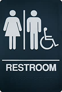 Unisex Braille Restroom Sign - ADA Approved Bathroom Sign with Double Sided 3M Tape