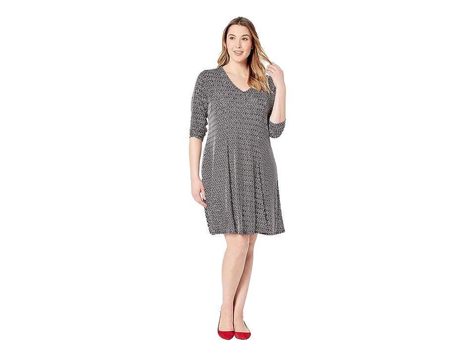Karen Kane Plus Plus Size Long Sleeve Fit Flare Dress (Print) Women