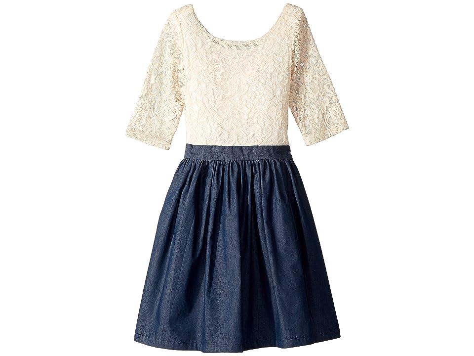 fiveloaves twofish Katherine Dress (Little Kids/Big Kids) (Ivory/Denim) Girl