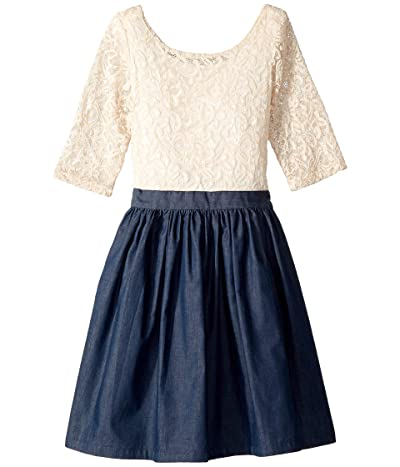 fiveloaves twofish Katherine Dress (Little Kids/Big Kids) (Ivory/Denim) Girl
