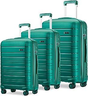 مجموعة الأمتعة من 3 قطع من جوي واي حقيبة دوارة خفيفة الوزن ذات الجانب الصلب مع قفل TSA ..., أزرق,