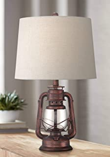 Murphy Rustic Industrial Accent Table Lamp Miner Lantern Red Bronze Clear Glass Oatmeal Fabric Drum Shade for Living Room Bedroom Bedside Nightstand Office Family - Franklin Iron Works