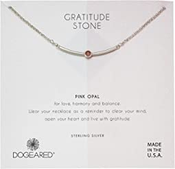 Dogeared Gratitude Stone, Curved Bar with Pink Opal Gem Stone Necklace