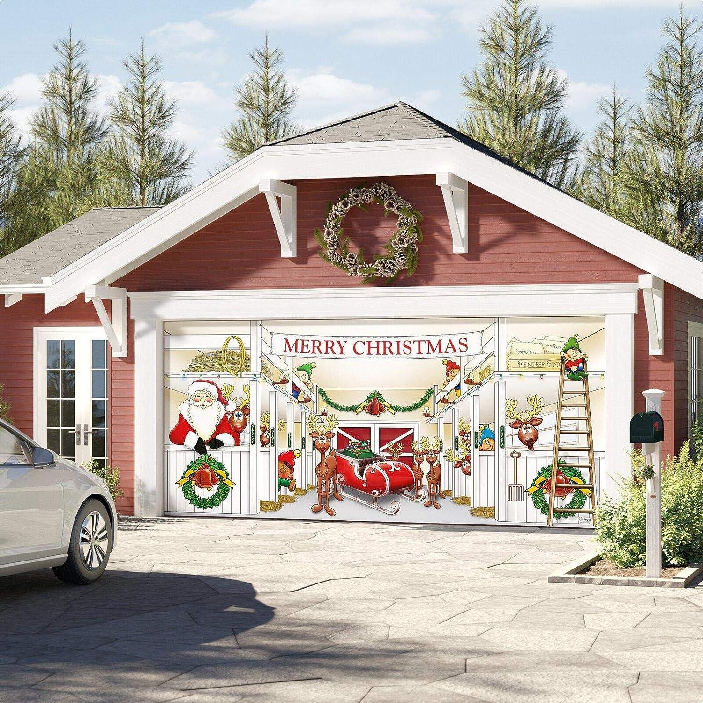 Palaney Huge Santa S Reindeer Barn Garage Door Mural Garden Outdoor Amazon Com