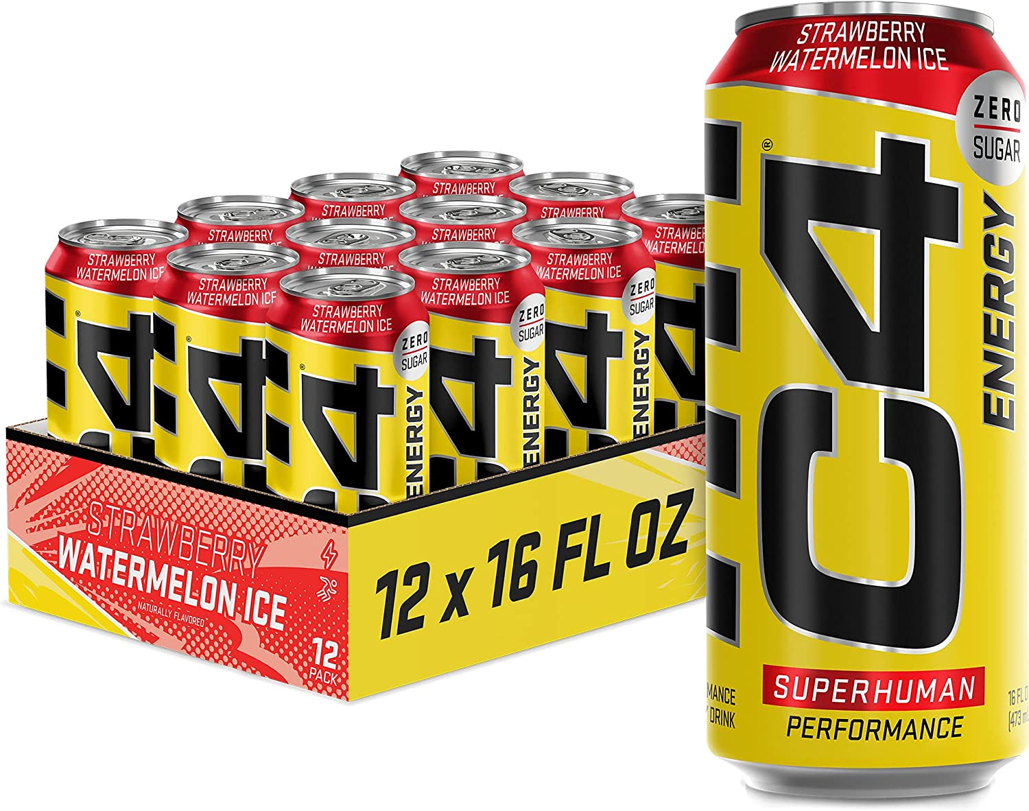 C4 Energy Drink Same day shipping 16oz Pack Low price of Watermelon Strawberry - Ice 12