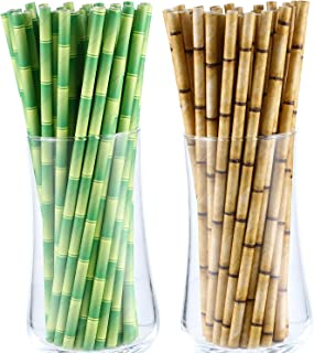 200 Pieces Bamboo Print Paper Straws Biodegradable Drinking Straws Disposable Paper Straws for Drinks Juices Smoothies Party Supplies (Green and Brown)