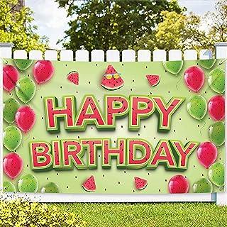 Xtralarge Watermelon Happy Birthday Backdrop - 72X44 Inch Watermelon Happy Birthday Banner | 1st Birthday One In A Melon B...