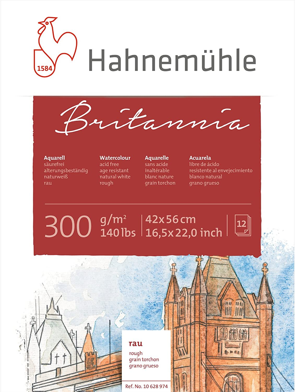 Hahnemühle Aquarellblock Britannia, rauh, 42 x 56 56 56 cm 12 Blatt, 300 g m² B000WL4LWK  | Zu verkaufen  1db4e5
