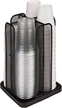 Mind Reader CDISPMESH-BLK Carousel Cup and Lid Organizer, 4 Compartment, Black Metal Mesh