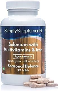 Selenio 220 mcg con Vitamina C. Multivitaminas y Hierro - ¡Bote para 1 año! - 360 Comprimidos - SimplySupplements
