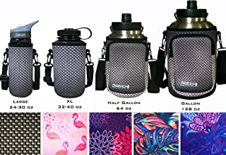 Koverz Neoprene Water Bottle Carrier, Water Bottle Holder   4 Sizes   Large 24-30oz 750mL   XL 32-40oz 1200mL   64oz Half Gallon   128oz One Gallon   Choose Your Style!
