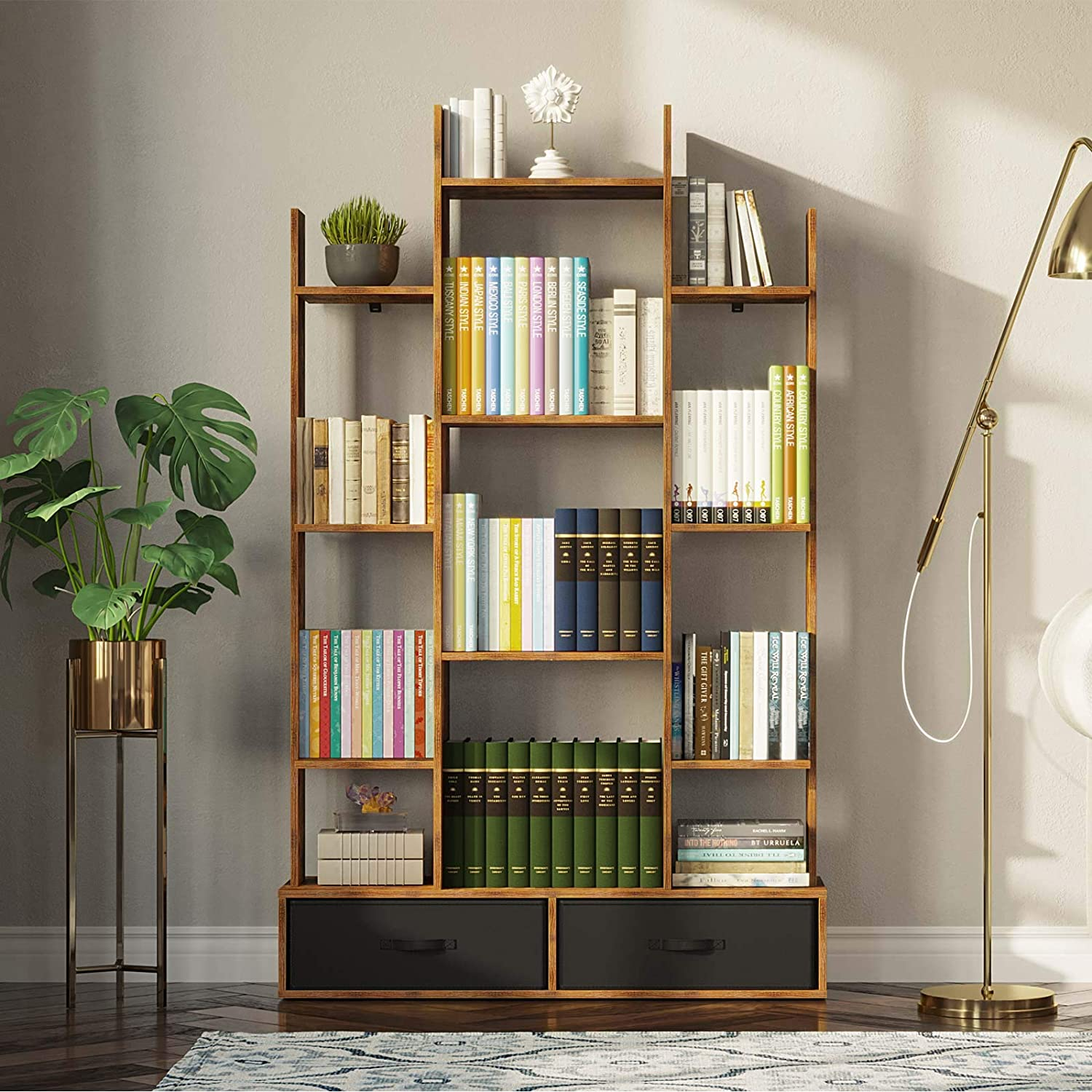 Free Standing Tree Bookcase Rolanstar Bookshelf Bookcase with Drawer Home Office Display Floor Standing Storage Shelf for Books CDs Plants,Utility Organizer Shelves for Living Room Bedroom