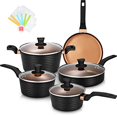 Pots and Pans Sets, Nonstick Cookware Set, Induction Pan Set, Chemical-Free Kitchen Sets, Saucepan, Frying Pan, Saute Pan, Bl