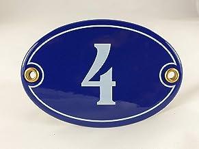 Emaille huisnummerbordje nr. 4, ovaal, blauw-wit Nr. 4 Blau-Weiß + Schrauben und Dübel