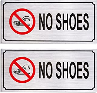 2-Pack No Shoes Signs - Remove Shoes Wall Plates, Self-Adhesive Aluminum Sign for Wall or Door, Silver - 7.87 x 3.6 Inches