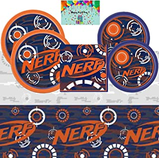 Nerf Birthday Party Supplies Pack for 16 - Lunch and Dessert Plates, Napkins, Table Cover Bundled with Custom Birthday Card By JPMD Party House