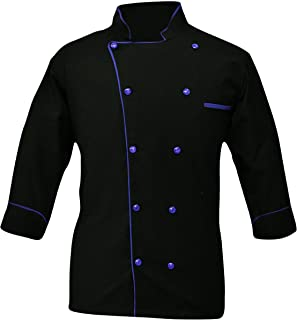Leorenzo Creation PN-05 Men's Black & White Chef Jacket Multiple Piping Color Exclusive Chef Coat