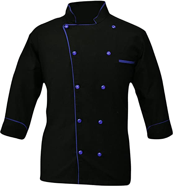 Leorenzo Creation PN 05 Men S Black White Chef Jacket Multiple Piping Color Exclusive Chef Coat