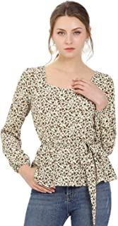 Allegra K Women's Long Sleeve Blouse Square Neck Peplum Floral Peasant Top with Belt